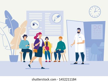 Bright Flyer Oculist Eye Treatment Cartoon Flat. Doctor Invites Patients to go to Office for Examination. Oculist Checks Vision Patient in Order to Prevent Eye Diseases. Vector Illustration.