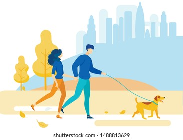 Bright Flyer Walk Through Countryside Park Flat. Vector Illustration.  Young Couple Went for  Walk Out Town. They Spend Time Together, Hold Hands and Walk their Dog. Rest from Noise Big City.