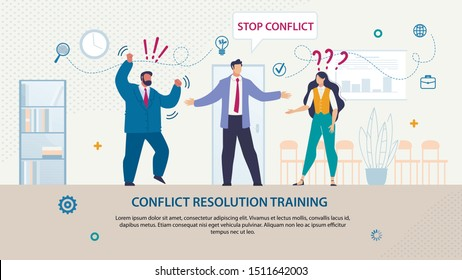 Bright Flyer Written Conflict Resolution Training. Banner Inscription in Cloud Stop Conflict. Guy Stands between Boss Man in Suit and Female Employee. Trying on Team. Vector Illustration.