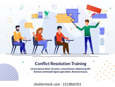 Bright Flyer Written Conflict Resolution Training. Banner Training Courses Offer Professional Training and Develop Сommunication Skills. Guys and Girls make Notes While Sitting at Training.