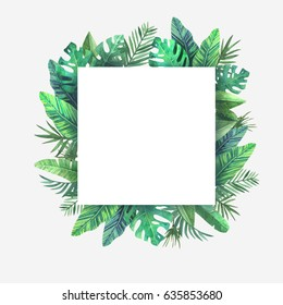 watercolor frame colorful tropical leaves concept stock illustration