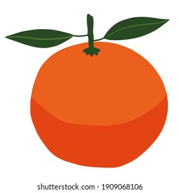 Bright fresh orange. Fruit. Isolated element, object on a white background. Ripe healthy tropical. Drawn by hands. Healthy natural food, vitamins. Organic, eco.