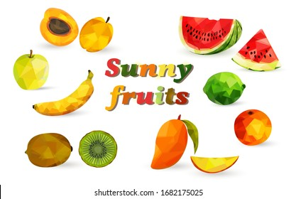 Bright fruits and berries in the style of low poly, watermelon, apricot, mango, banana, kiwi, lime, orange, apple.