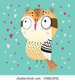 bright fun graphic owl on green background with hearts