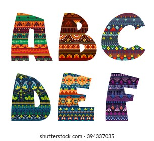 Bright funny font with tribal ornament. Vector alphabet for fun illustrations and posters