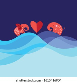 Bright funny loving elephants with a heart on a blue background
