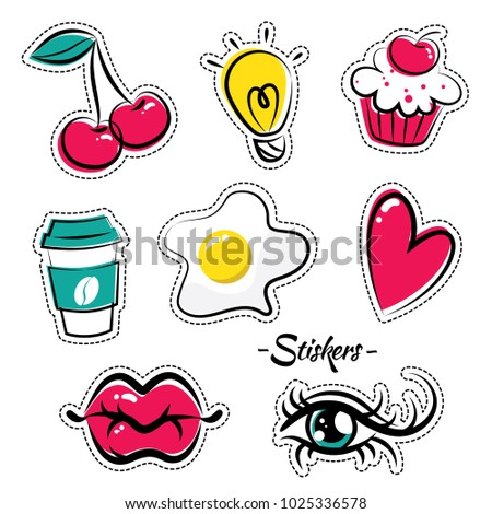 Bright funny stickers in the form of lips, eyes, cake and other objects