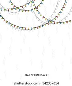 Bright garlands background. New Years design. Christmas bulb. Brochure, card, leaflet. Festive magic ornament for festive