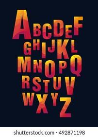 Bright geometric alphabet (Latin) on black. Poster in school. ABC