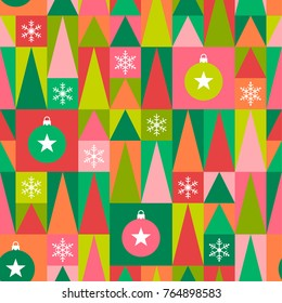 Bright geometric christmas elements seamless pattern background