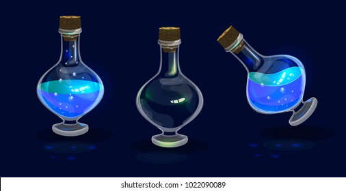 Bright glass bottle icon for fantasy game user interfaces; bright shine blue magic potion; game design element dor app user interface; empty, half full, tilted full bottle; fantasy flask with elixir