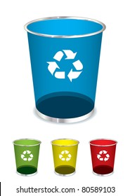 Bright glass recycle trash can icons or symbols