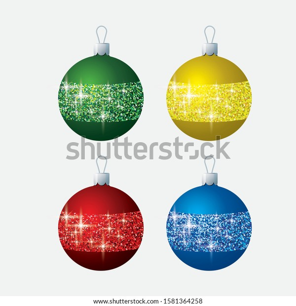 Bright glitter Christmas bauble decorations in vector format.