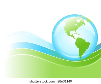 A bright globe of the Earth is rolling on a blue and green wave of energy.