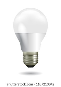 Bright glowing and led white light bulb. Energy efficiency idea.  Vector illustration