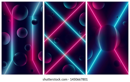 Bright glowing pink and blue neon lines, futuristic cyberbank backgrounds with illuminations on geometric figures, vector retro illustrations in the style of the 80s and 90s
