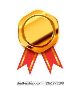 Bright golden award with red tape, glossy winner badge isolated on white