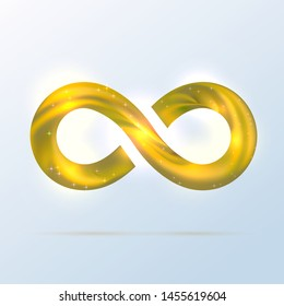 Bright golden fusion swoosh ribbin infinity symbol. Vector 3d volume illustration with shadow. Sparkle Infinity sign, Logo for presentation. Yellow neon spiral wavy line