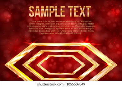 Bright golden hexagon on a red background with bokeh. Luxury gold vector illustration. Easy to edit design template for your business projects.
