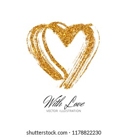 A bright golden sparkle imprint of the lipstick heard. Vector illustration isolated on white background. Valentine's Day element