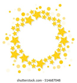 bright golden stars wreath shiny small medium big elements on white background vector card poster round centerpiece