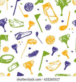 Bright golf club Seamless pattern with sport equipment, hand drawngrunge set. Green and yellow illustration with cartoon objects for site header, wallpaper, good for printing.