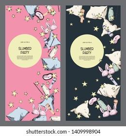 Bright good night pajama sleepover party invitations set, flyers kit, cards templates