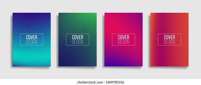 bright gradient color abstract line pattern background cover design. modern background design with trendy and vivid vibrant color. blue, violet, red, orange and green placard poster cover template.