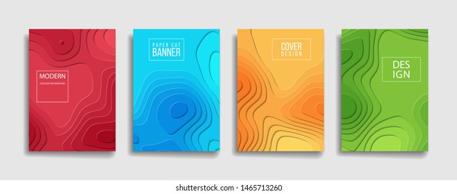 bright gradient color abstract paper cut pattern background cover design. cool background for presentation banner brochure sale. blue green red orange yellow placard poster vector cover template.