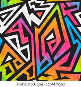 Bright graffiti geometric seamless pattern (eps 10 vector file)