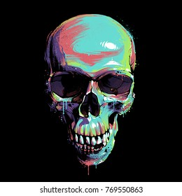 Bright graffiti illustration of skull on black background. Dirty paint art of skull. Skull image in grunge artistic technique with vibrant juicy colors. Vector art.