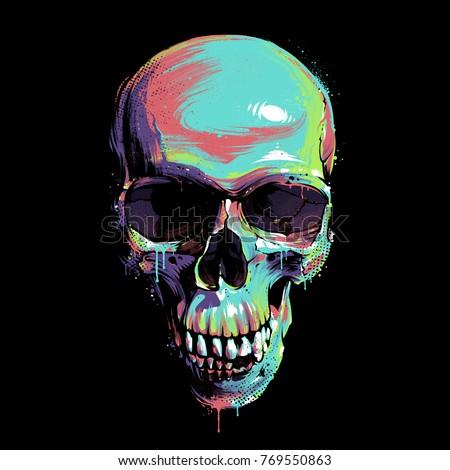 bright graffiti illustration skull on black のベクター画像素材