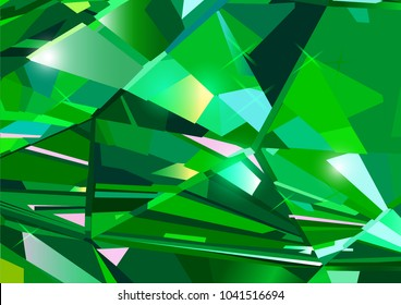 Bright green abstract background made of emerald crystals. Vector design.