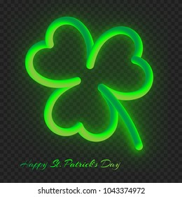 Bright green clover leaf for festive decoration for St. Patrick's Day on a transparent background