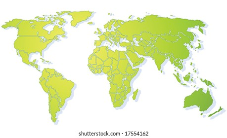 Bright green shiny stylized World map, with drop shadow on withe background(Vector). Each country is a separate shape. Background is in a separate layer. Colors are controlled by Swatches