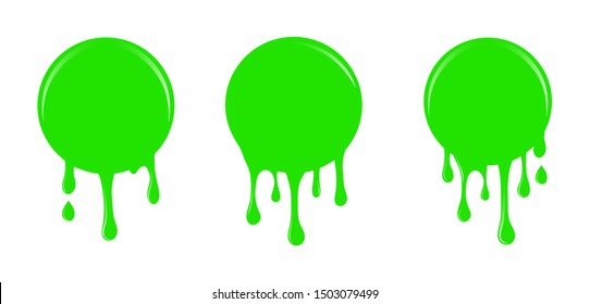 Bright green slime drips and blots set isolated on white background. Dripping slime. Green dirt splat, goo dripping splodges of slime.