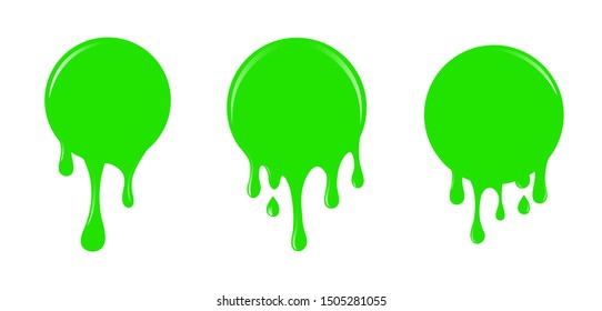 Bright green slime drips and blots set isolated on white background. Dripping slime. Green dirt splat, goo dripping splodges of slime. Halloween ooze, mucus isolated vector set.