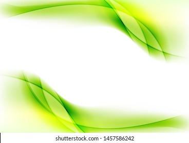 Bright green smooth liquid flowing waves abstract elegant background. Vector design