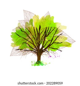 bright green tree of stain watercolor. Vector