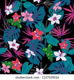 Bright green turquoise pink exotic tropical flowers of a palm-tree orchid leaves pattern on a black background.