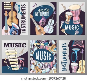 Bright greeting card designs with musical instruments. Bundle of various musician instruments on brochures. Music and entertainment concept. Template for promotional leaflet or flyer