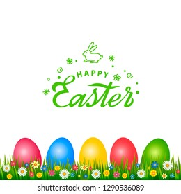 Bright greeting card with handwritten inscription Happy Easter and the Easter Bunny logo. Retro lettering. A set of Easter eggs with different ornaments on the background of green grass and spring flo