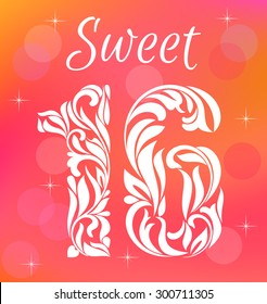 Bright Greeting card Invitation Template. Sweet Sixteen