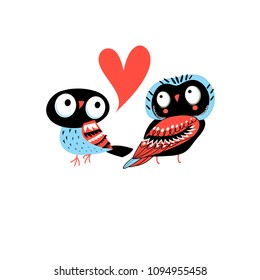 Bright greeting card with owls in love on white background
