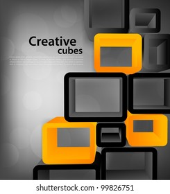 Bright grey tech background with 3d cubes