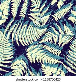 Bright grunge summer fern leaves pattern