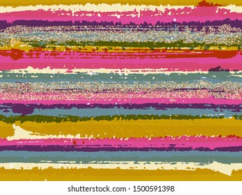 Bright grunge texture brush stroke stripes with gold glitter sparkles vector seamless pattern background. Sparkles golden glitter glossy confetti over horizontal ink lines. Fabric print.