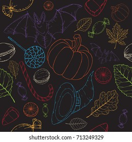 Bright Halloween seamless pattern on black. Great for cards, party invitations, wallpaper, holiday design.