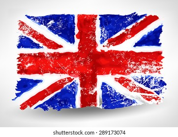 Bright hand drawn watercolor England flag with grunge effect 2. Abstract design vector illustration.