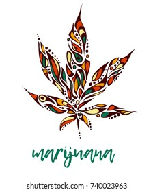 Bright hand-drawn marijuana leaf